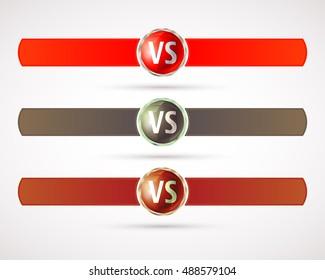 Set of versus logo. VS letters. Fight competition symbol. Vector illustration.