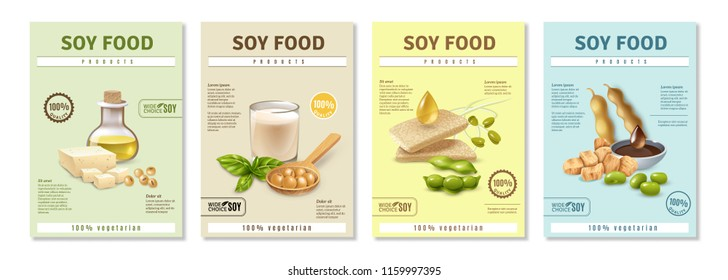 Set of vertical advertising posters with soy food products on colorful background isolated vector illustration