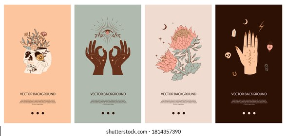 Set of vertical background with Mystical and Mexico elements. Template for social media and mobile app. Skull, cactus, floral and mystic elements. Editable vector illustration.