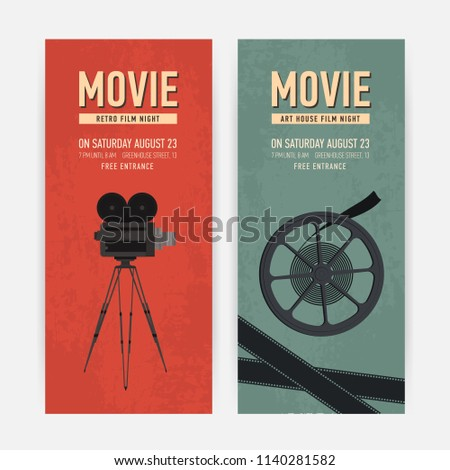 set vertical banner templates old camera stock vector royalty free