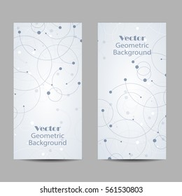 Set of vertical banners. Abstract geometric background with connected lines and dots. Vector illustration.