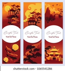 Set of vertical banners with asian landscape
