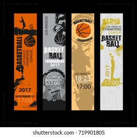 Set of vertical banners for basketball. Sports Templates. Grunge style. Abstract background. Players in basketball. Hand drawing textures, brush. EPS file is layered(clipping mask).