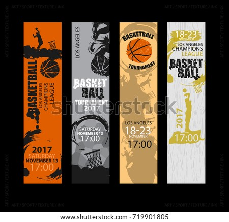 set vertical banners basketball sports templates stock vector