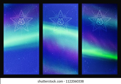 Set of vertical banners with beautiful starry sky and Northern lights. Vector illustration with aurora borealis. Abstract colorful cards for design
