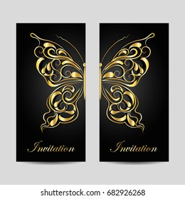 Set of vertical banners. Gold butterfly with swirl pattern on dark background.