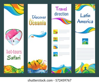 Set of vertical banners, hot tours safari, discover oceania, travel direction, latin america, vector illustration.