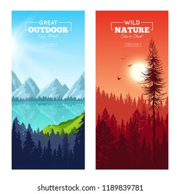 Set of vertical banners with realistic pine forest near mountain lake and at sunset isolated vector illustration