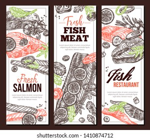 Set of vertical banners with red fish food and meat. Cooking of salmon. Hand drawn illustration for seafood menu and recipes. Vector sketch set