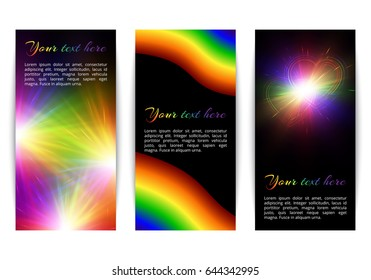 A set of vertical banners with shining iridescent hearts on a dark backdrop in the style of an LGBT community. Vector illustration.