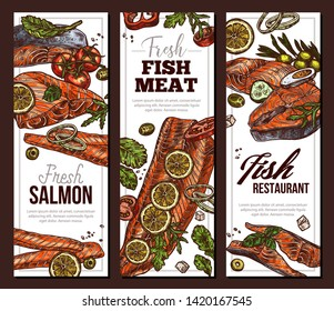 Set of vertical banners with steak and slices of salmon red meat for cooking grill and bbq. Design with vector sketch fish and seafood illustrations
