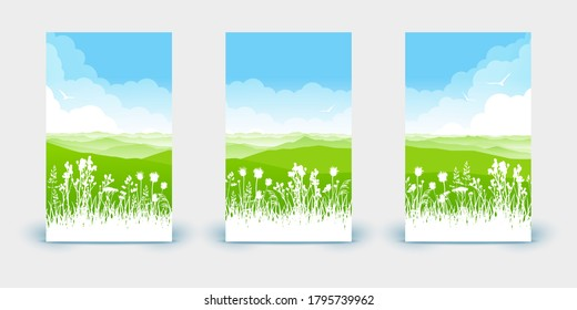 Set of vertical banners - summer scene with wild herbs and mountains on cloudy sky background