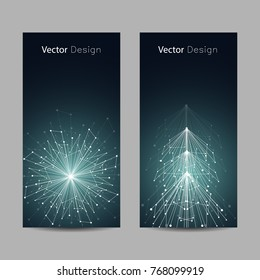 Set of vertical banners. White snowflake and fir tree made of connected lines and dots on green background.
