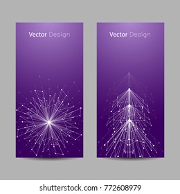 Set of vertical banners. White snowflake and fir tree made of connected lines and dots on violet background.