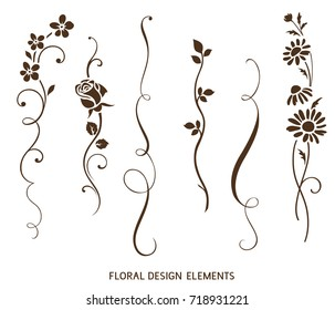 Set of vertical calligraphic elements and flower silhouette for frame design. Vector vintage ornaments for greeting card decor