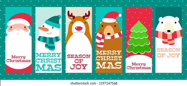 Set of vertical Christmas banner, background, flyer, placard. Xmas poster and sticker. Vector template card for greeting, decoration, congratulation, invitation with cute animal and Santa Claus. EPS8
