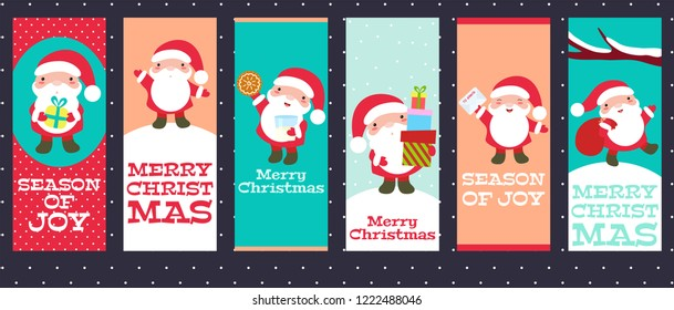 Set of vertical Christmas banner, background, flyer, placard with cute Santa Clauses with different emotions and situations. Funny, happy, laughing, jumping, with gifts. Xmas poster and sticker. EPS8