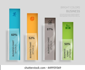 set of vertical column chart with segment of glass, template for business presentation