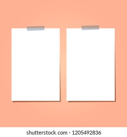 Set of vertical flat poster with duct tape. White paper with adhesive tape. Vector blank illustration with shadow.