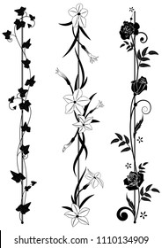 set of vertical floral dividers with ivy, flowering tobacco and roses in black and white