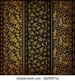 Set of vertical golden lace pattern, decorative elements, borders for design. Seamless floral ornament. Page decoration. Vector illustration EPS 10.