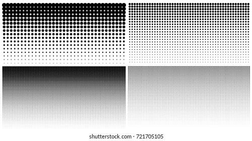 Set of vertical gradient halftone dots backgrounds, horizontal templates using halftone dots pattern. Vector illustration