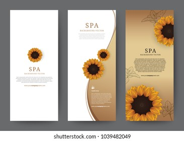 Set of Vertical Luxury Banner Sunflower Flora with gold or golden background for hotel salon cosmetics beauty resort and spa, vector illustration