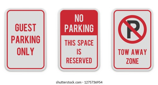 Set of vertical parking signs. White road sign with red text and graphic message. Reserved parking place. No-parking traffic sign. Parking regulation elements. Illustration transparent background.