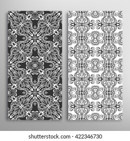 Set of vertical seamless doodle geometric patterns. Vector black and white stylish floral repeating texture, line pattern. Contemporary graphic design. Tribal ethnic ornament, monochrome background