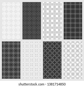 Set of vertical seamless line patterns. Black and white geometric backgrounds collection. Endless repeating linear texture for wallpaper, packaging, banners, invitations, business cards, fabric print