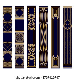 Set of Vertical spines of books ornament. Samples of roots of the book. Luxury gold and blue pattern. Vector illustration