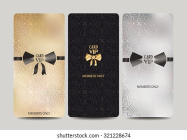 Set of  vertical VIP cards with floral background and symbolic bow