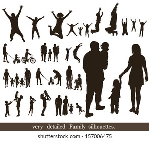 Set  of very detailed family silhouettes. Jumping and walking.