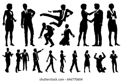 A set of very high quality business men and women people silhouettes