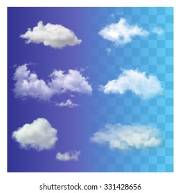 Set of very realistic different transparent white sky clouds. Sunny weather cloudscape realistic set