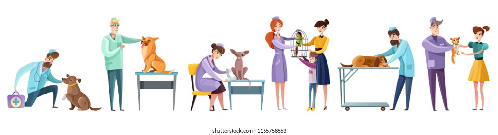 Set of vet doctors during pets examination and owners of domestic animal isolated flat vector illustration