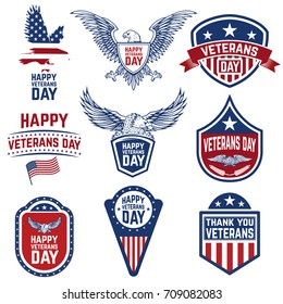 Set of veterans day emblems isolated on white background. Design elements for logo, label, emblem, sign. Vector illustration