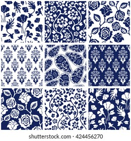 Set of Victorian damask seamless patterns with roses and wildflowers. Chinese, Indian, French and Italian motifs. Floral ornaments, paisleys, baroque prints. Retro textile collection. Blue, white.