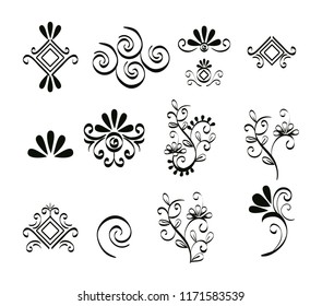 set victorian and floral monochrome icons