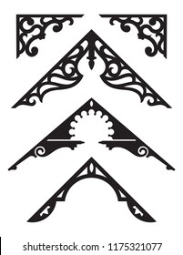 Set of Victorian Gingerbread Architectural Trim Illustrations. Silhouette vector illustrations of vintage design details from classic Victorian houses.