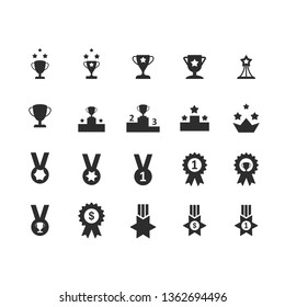 Set of victory Cup and Award icons.