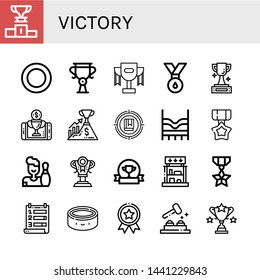 Set of victory icons such as Podium, Puck, Trophy, Medal, Reward, Success, Target, Top, Bowling, Award, Prizes, Ranking, Whack a mole , victory