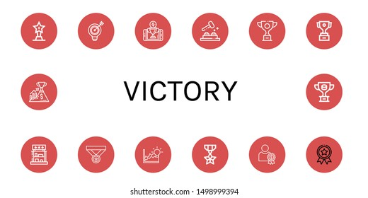 Set of victory icons such as Trophy, Target, Reward, Whack a mole, Prizes, Medal, Achievement, Success , victory