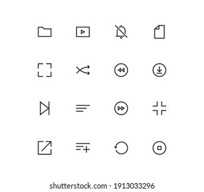 Set of video and audio icons, play, player, download, next, multimedia, button, music, save and linear variety vectors.