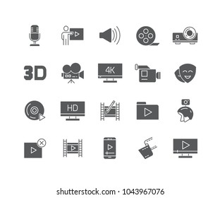 Set of Video content flat icons isolated on white background.