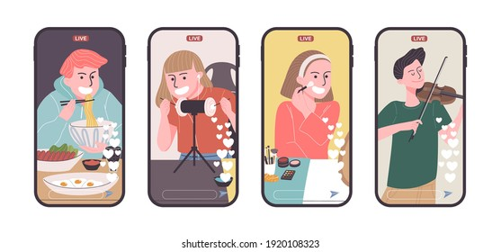 Set of video creator broadcasting on smart phone in flat style. Vector illustration of cartoon character Mukbung, ASMRtist,  Beauty blogger and musician live streaming the vlog.