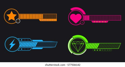 Set of video game bars on a black background, Vector illustration