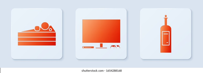 Set Video game console , Cake  and Bottle of wine . White square button. Vector