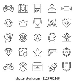 set of video game icon, with simple style and modern concept, editable stroke, use for web development asset and game application