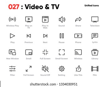 Set of Video and TV Line Unified Icons. Includes Player, Sound, Television, Film and other. Pixel Perfect. Editable Stroke.